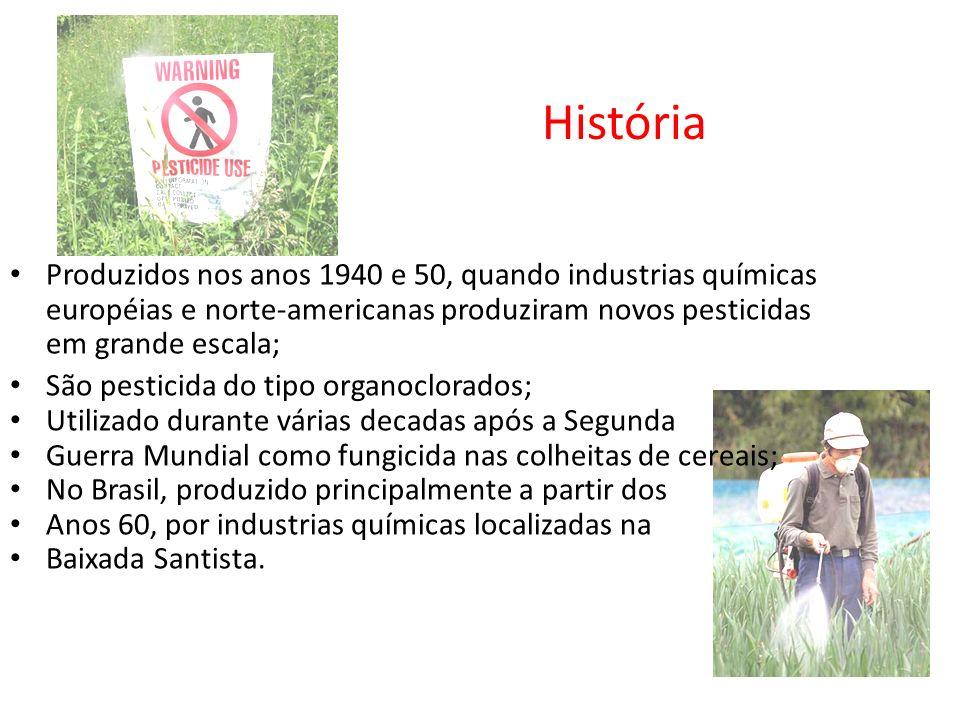 História Produzidos nos anos 1940 e 50, quando industrias químicas européias e norte-americanas produziram novos pesticidas em grande escala; São pest
