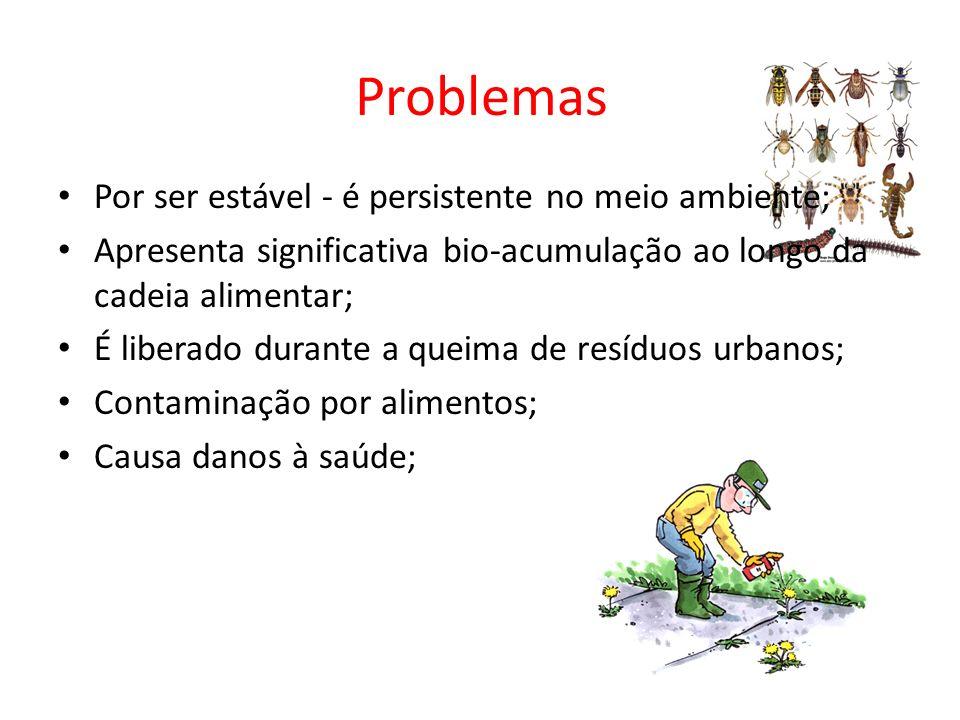 Problemas Por ser estável - é persistente no meio ambiente; Apresenta significativa bio-acumulação ao longo da cadeia alimentar; É liberado durante a