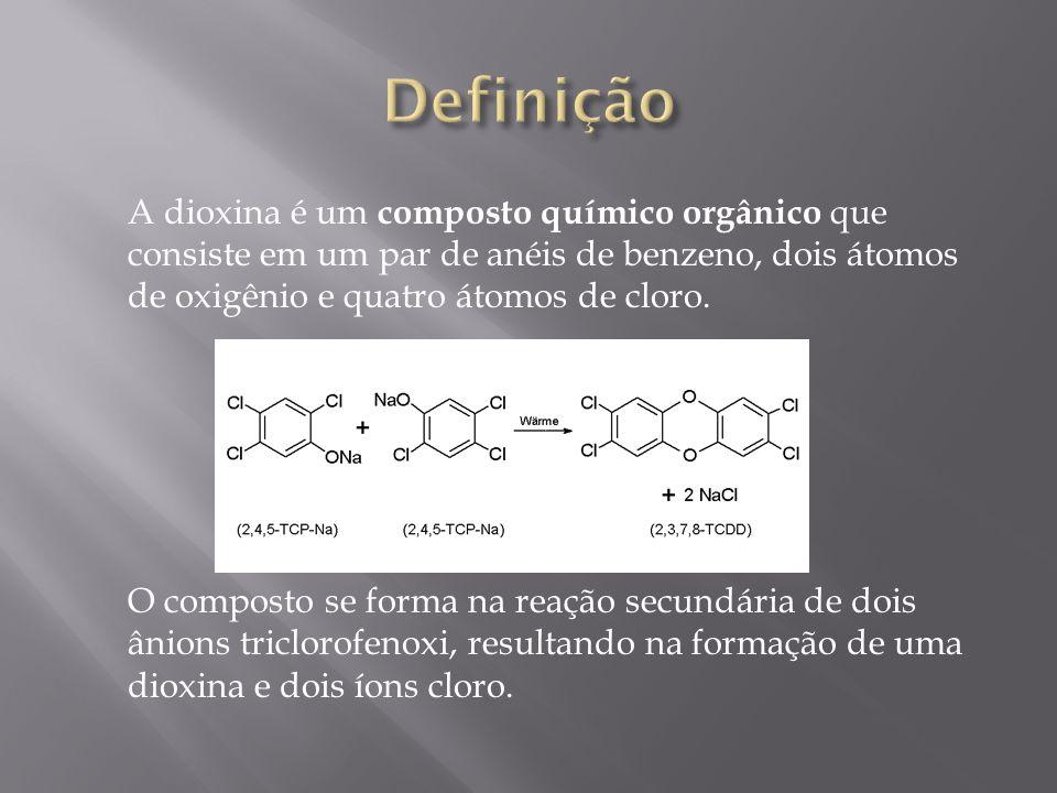 A dioxina é um composto químico orgânico que consiste em um par de anéis de benzeno, dois átomos de oxigênio e quatro átomos de cloro. O composto se f