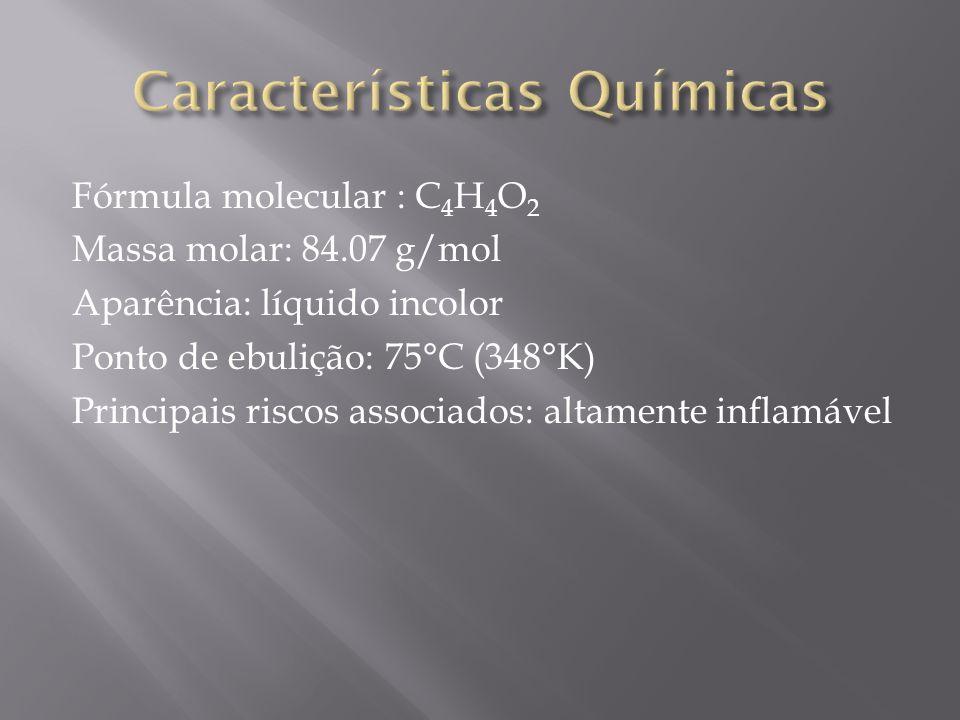 Fórmula molecular : C 4 H 4 O 2 Massa molar: 84.07 g/mol Aparência: líquido incolor Ponto de ebulição: 75°C (348°K) Principais riscos associados: alta