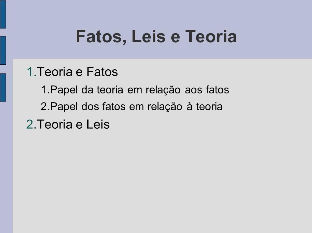 Fatos, Leis e Teoria 1.Teoria e Fatos 1.Papel da teoria em relação aos fatos 2.Papel dos fatos em relação à teoria 2.Teoria e Leis