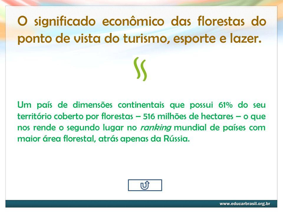 O significado econômico das florestas do ponto de vista do turismo, esporte e lazer. Um país de dimensões continentais que possui 61% do seu territóri