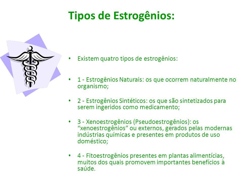 Tipos de Estrogênios: Existem quatro tipos de estrogênios: 1 - Estrogênios Naturais: os que ocorrem naturalmente no organismo; 2 - Estrogênios Sintéti