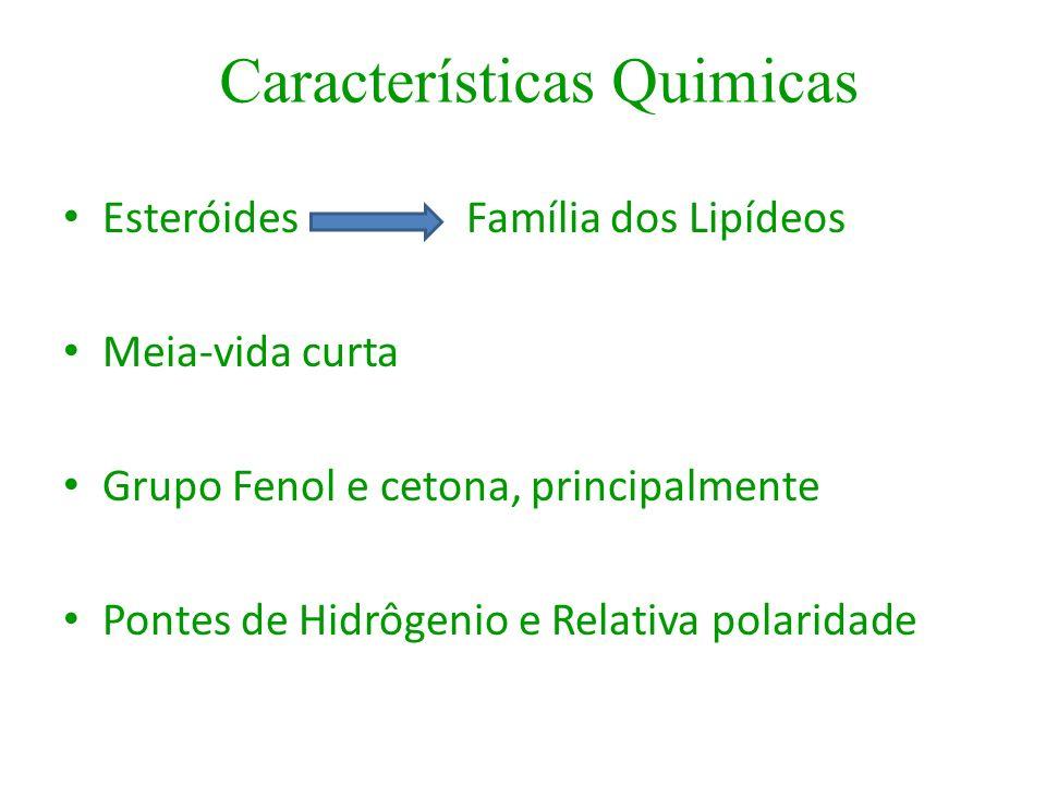 Esteróides Família dos Lipídeos Meia-vida curta Grupo Fenol e cetona, principalmente Pontes de Hidrôgenio e Relativa polaridade Características Quimic