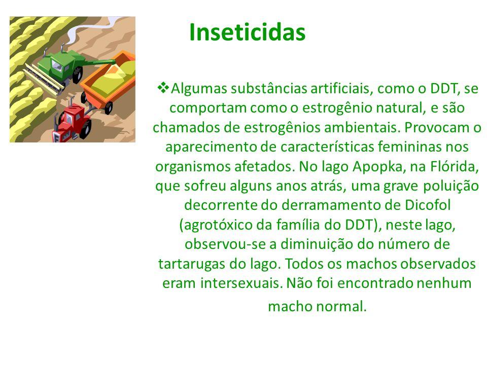Inseticidas Algumas substâncias artificiais, como o DDT, se comportam como o estrogênio natural, e são chamados de estrogênios ambientais. Provocam o