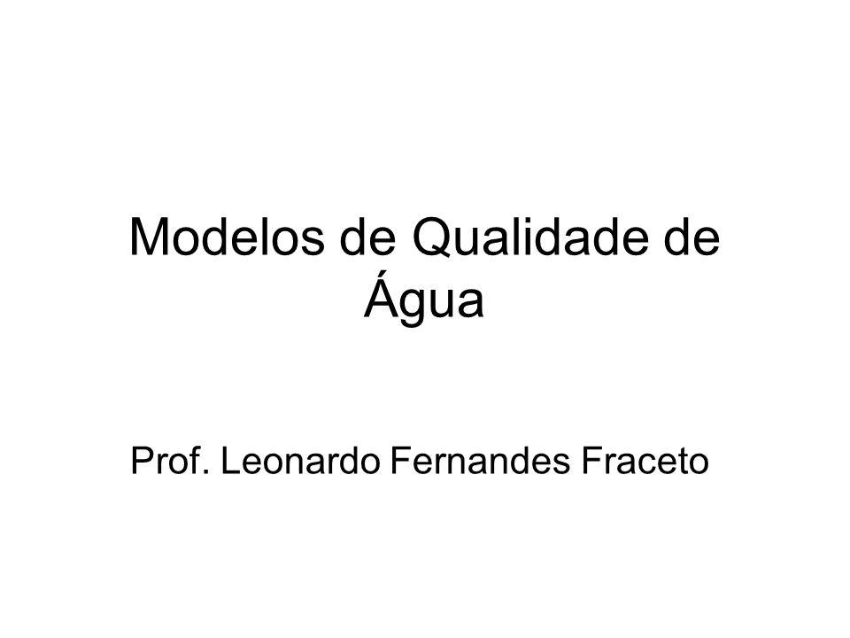 Exercício de aplicação do modelo de Streeter-Phelps Dados Características dos esgotos –Vazão média: 0,15 m 3 /s –DBO 5 : 300 mg/L Características do rio –Vazão do rio: 0,8 m 3 /s –Classe do corpo dágua: classe 2 (5mg/L) –Temperatura da água: 25 o C –Profundidade média: 1,0m –Velocidade média: 0,4 m/s –DBO 5 : 2 mg/L –Altitude: 1000m (7,8 mg/L)