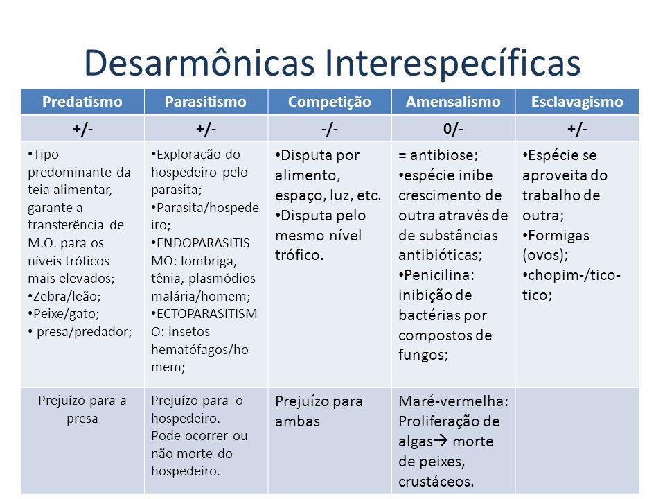 Desarmônicas Interespecíficas PredatismoParasitismoCompetiçãoAmensalismoEsclavagismo +/- -/-0/-+/- Tipo predominante da teia alimentar, garante a tran