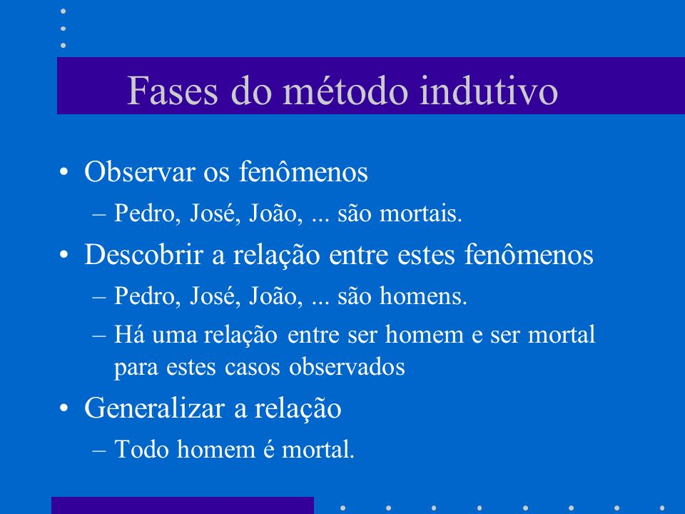 Fases do método indutivo Observar os fenômenos –Pedro, José, João,...