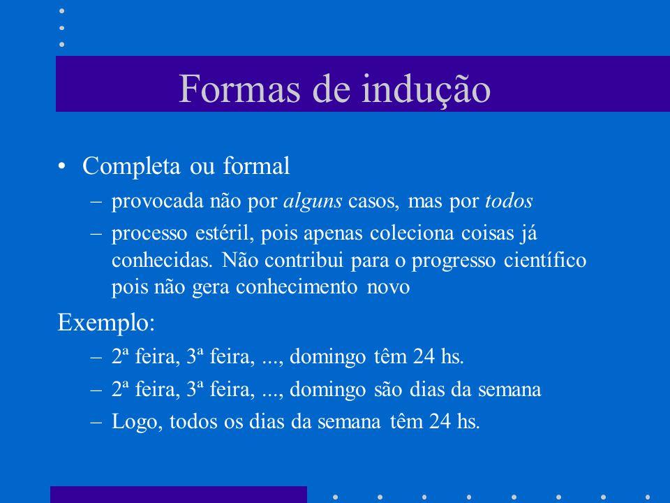 Formas de indução Completa ou formal –provocada não por alguns casos, mas por todos –processo estéril, pois apenas coleciona coisas já conhecidas.