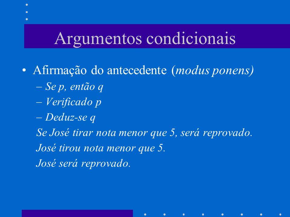Argumentos condicionais Afirmação do antecedente (modus ponens) –Se p, então q –Verificado p –Deduz-se q Se José tirar nota menor que 5, será reprovado.