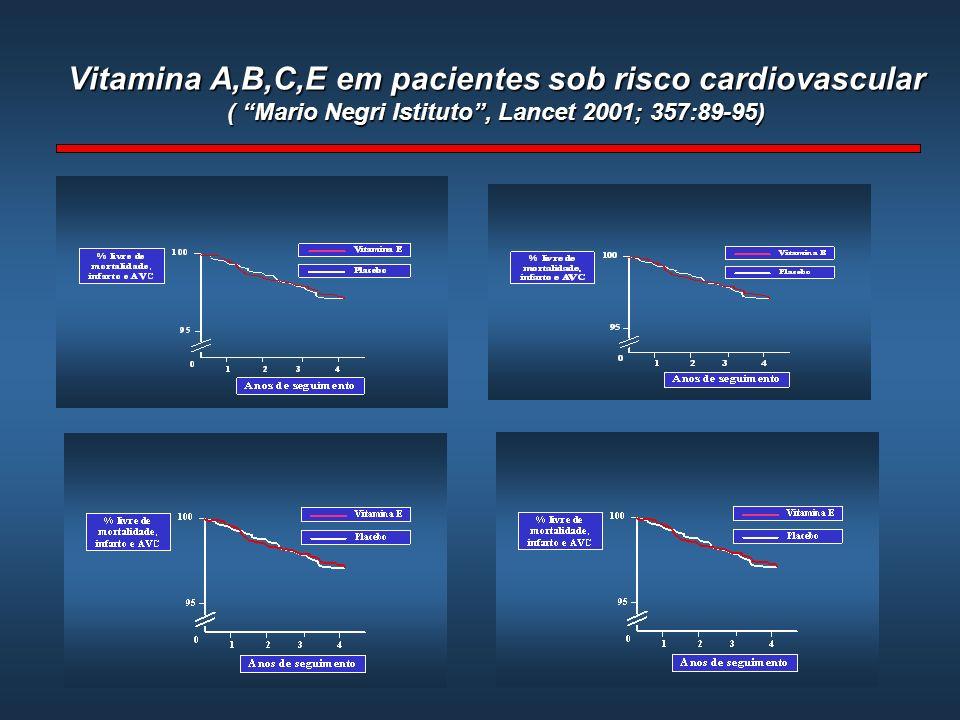 Vitamina A,B,C,E em pacientes sob risco cardiovascular ( Mario Negri Istituto, Lancet 2001; 357:89-95)