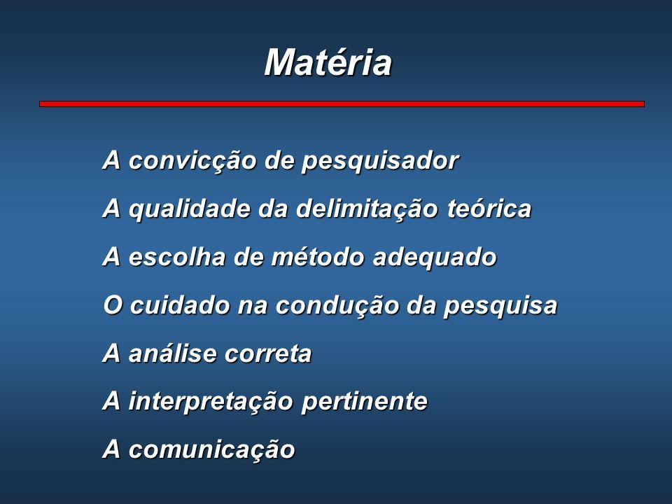 Matéria A convicção de pesquisador A qualidade da delimitação teórica A escolha de método adequado O cuidado na condução da pesquisa A análise correta