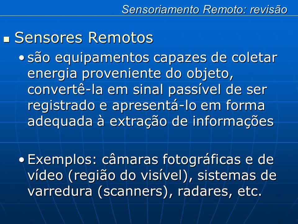 Sensores Remotos Sensores Remotos são equipamentos capazes de coletar energia proveniente do objeto, convertê-la em sinal passível de ser registrado e