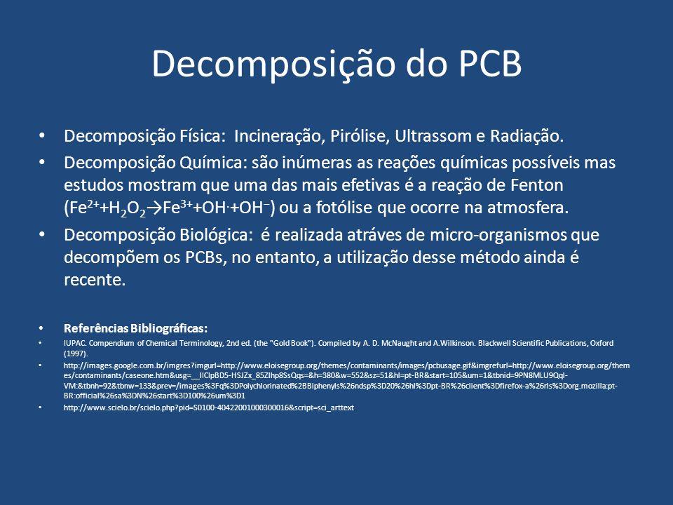 Decomposição do PCB Decomposição Física: Incineração, Pirólise, Ultrassom e Radiação. Decomposição Química: são inúmeras as reações químicas possíveis