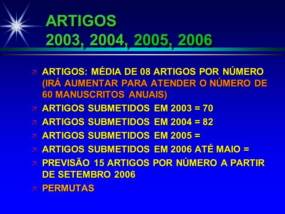 ARTIGOS 2003, 2004, 2005, 2006 ä ARTIGOS: MÉDIA DE 08 ARTIGOS POR NÚMERO (IRÁ AUMENTAR PARA ATENDER O NÚMERO DE 60 MANUSCRITOS ANUAIS) ä ARTIGOS SUBME