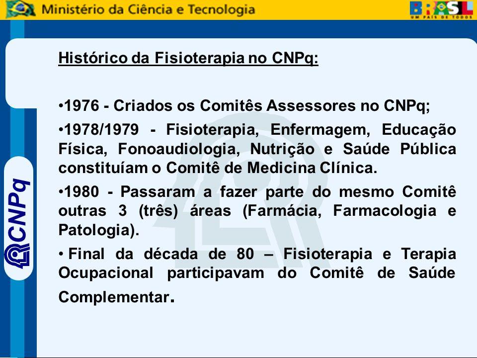 CNPq Histórico da Fisioterapia no CNPq: 1976 - Criados os Comitês Assessores no CNPq; 1978/1979 - Fisioterapia, Enfermagem, Educação Física, Fonoaudiologia, Nutrição e Saúde Pública constituíam o Comitê de Medicina Clínica.
