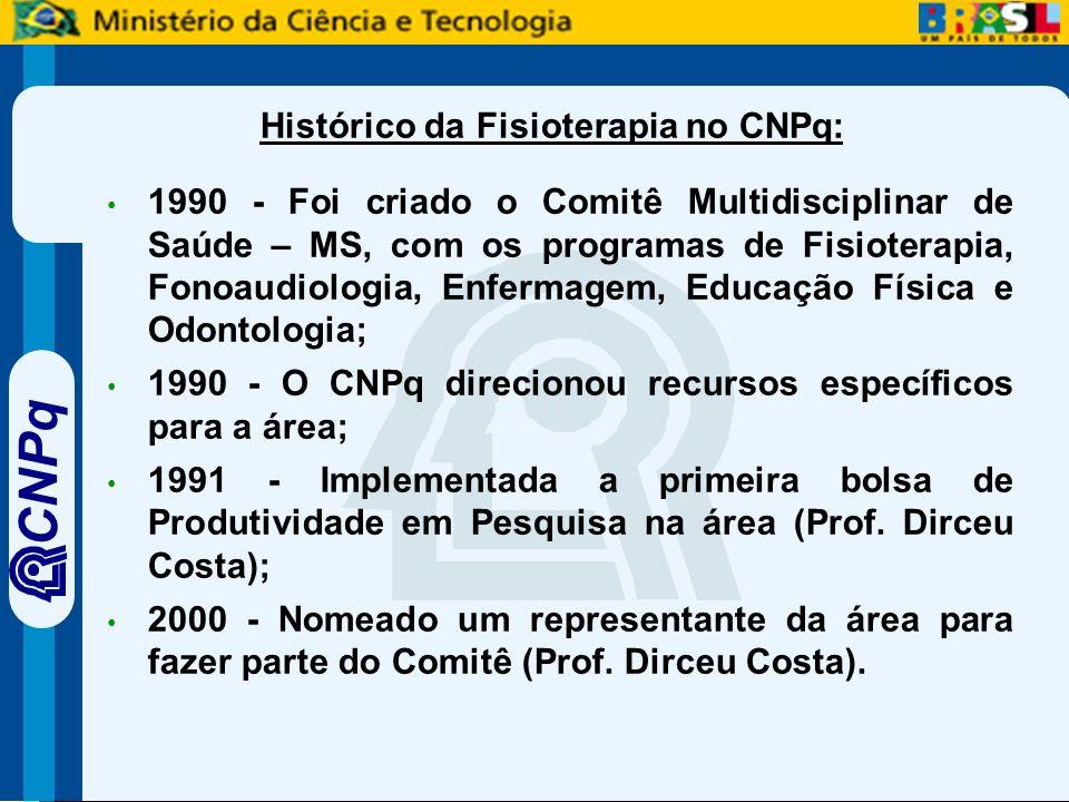 CNPq Histórico da Fisioterapia no CNPq: 1990 - Foi criado o Comitê Multidisciplinar de Saúde – MS, com os programas de Fisioterapia, Fonoaudiologia, Enfermagem, Educação Física e Odontologia; 1990 - O CNPq direcionou recursos específicos para a área; 1991 - Implementada a primeira bolsa de Produtividade em Pesquisa na área (Prof.