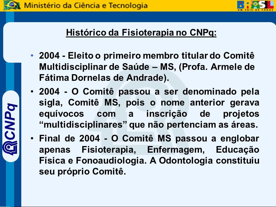 CNPq Histórico da Fisioterapia no CNPq: 2004 - Eleito o primeiro membro titular do Comitê Multidisciplinar de Saúde – MS, (Profa.