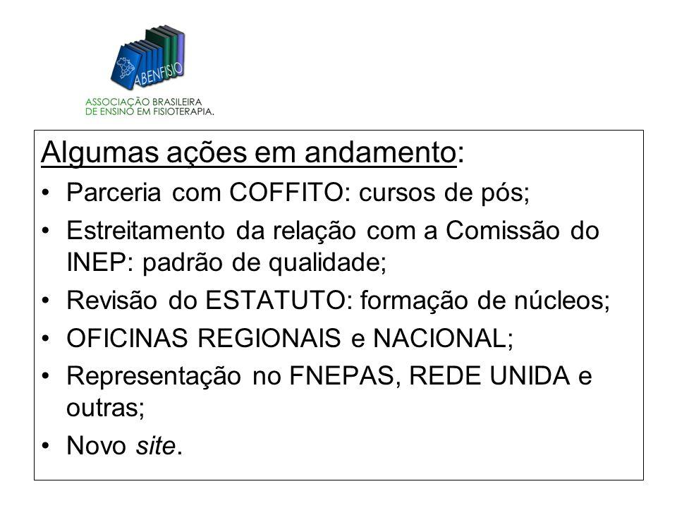 Algumas ações em andamento: Parceria com COFFITO: cursos de pós; Estreitamento da relação com a Comissão do INEP: padrão de qualidade; Revisão do ESTA