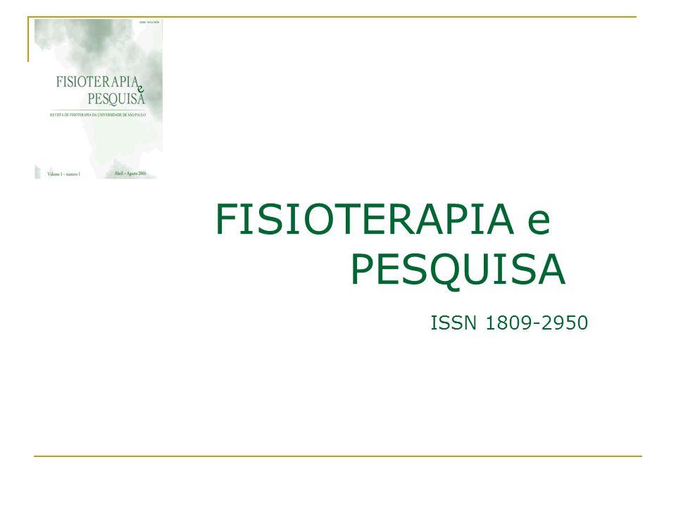 FISIOTERAPIA e PESQUISA ISSN 1809-2950