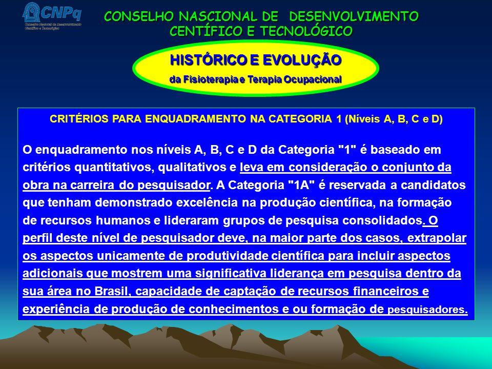 CONSELHO NASCIONAL DE DESENVOLVIMENTO CENTÍFICO E TECNOLÓGICO HISTÓRICO E EVOLUÇÃO da Fisioterapia e Terapia Ocupacional CRITÉRIOS PARA ENQUADRAMENTO