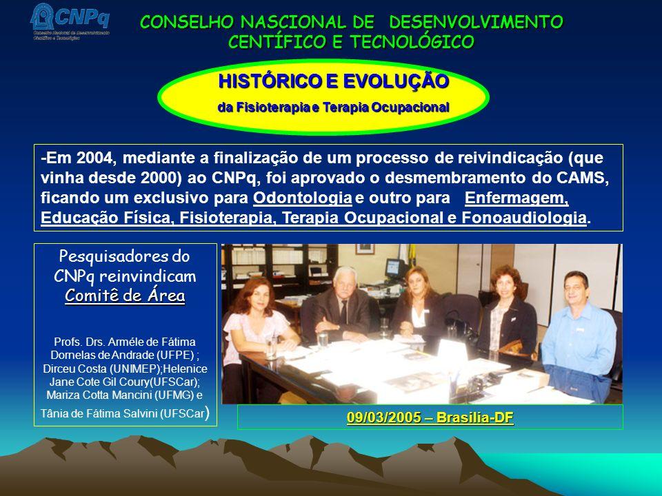 CONSELHO NASCIONAL DE DESENVOLVIMENTO CENTÍFICO E TECNOLÓGICO -Em 2004, mediante a finalização de um processo de reivindicação (que vinha desde 2000)