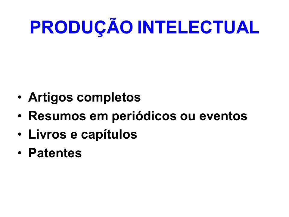 PRODUÇÃO INTELECTUAL Artigos completos Resumos em periódicos ou eventos Livros e capítulos Patentes