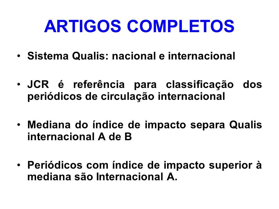 ARTIGOS COMPLETOS Sistema Qualis: nacional e internacional JCR é referência para classificação dos periódicos de circulação internacional Mediana do índice de impacto separa Qualis internacional A de B Periódicos com índice de impacto superior à mediana são Internacional A.