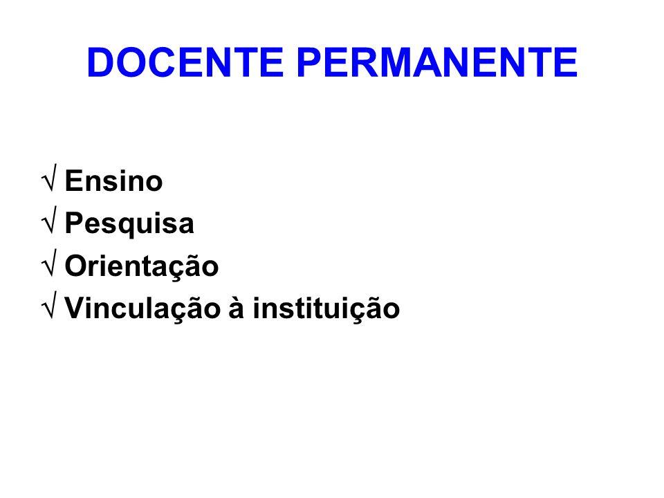 DOCENTE PERMANENTE Ensino Pesquisa Orientação Vinculação à instituição