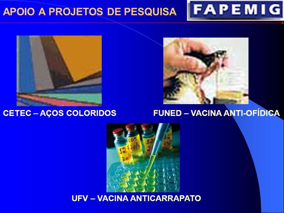 APOIO A PROJETOS DE PESQUISA CETEC – AÇOS COLORIDOS UFV – VACINA ANTICARRAPATO FUNED – VACINA ANTI-OFÍDICA
