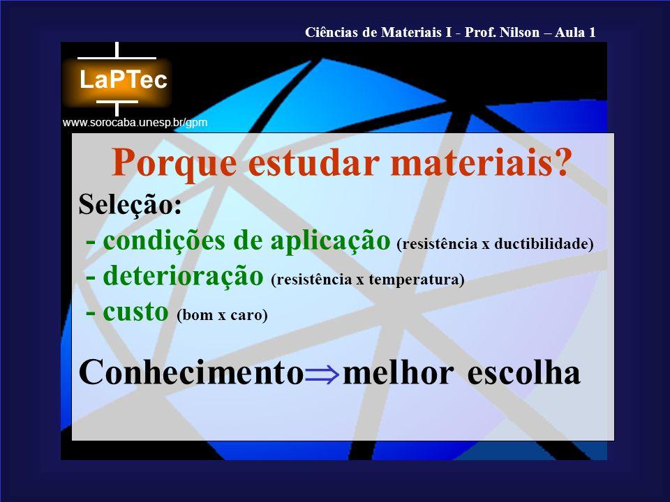Ciências de Materiais I - Prof. Nilson – Aula 1 www.sorocaba.unesp.br/gpm Porque estudar materiais? Seleção: - condições de aplicação (resistência x d