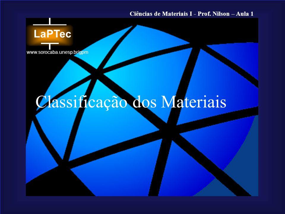 Ciências de Materiais I - Prof. Nilson – Aula 1 www.sorocaba.unesp.br/gpm Classificação dos Materiais