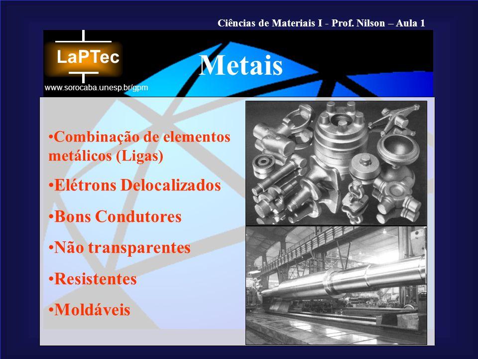 Ciências de Materiais I - Prof. Nilson – Aula 1 www.sorocaba.unesp.br/gpm Combinação de elementos metálicos (Ligas) Elétrons Delocalizados Bons Condut