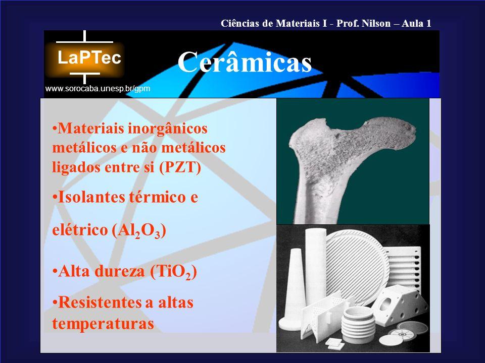 Ciências de Materiais I - Prof. Nilson – Aula 1 www.sorocaba.unesp.br/gpm Materiais inorgânicos metálicos e não metálicos ligados entre si (PZT) Isola