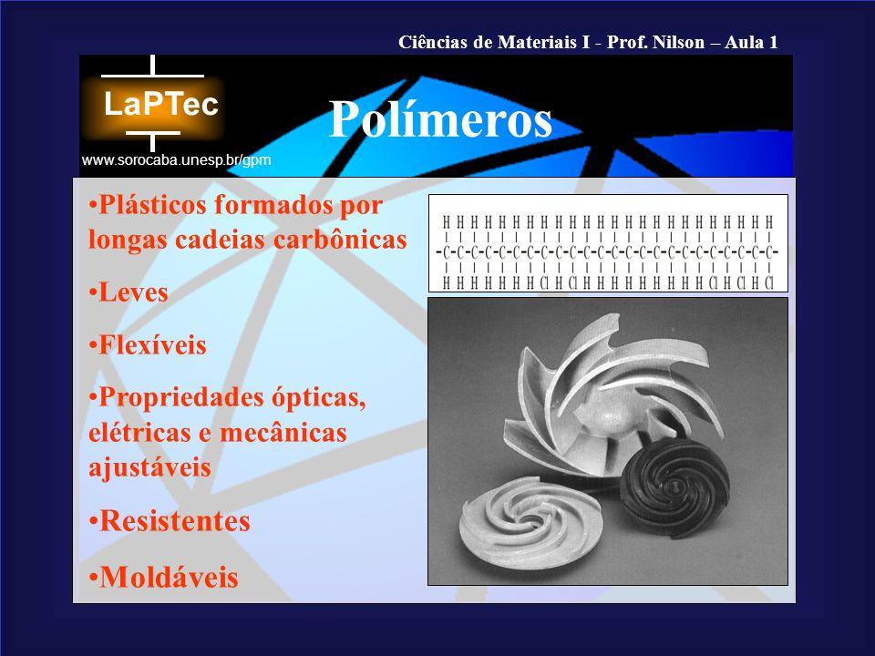 Ciências de Materiais I - Prof. Nilson – Aula 1 www.sorocaba.unesp.br/gpm Plásticos formados por longas cadeias carbônicas Leves Flexíveis Propriedade