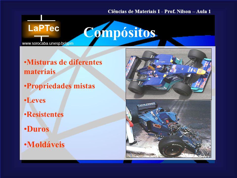 Ciências de Materiais I - Prof. Nilson – Aula 1 www.sorocaba.unesp.br/gpm Misturas de diferentes materiais Propriedades mistas Leves Resistentes Duros