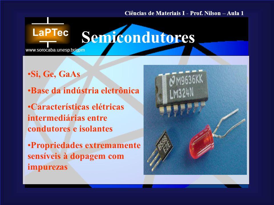 Ciências de Materiais I - Prof. Nilson – Aula 1 www.sorocaba.unesp.br/gpm Si, Ge, GaAs Base da indústria eletrônica Características elétricas intermed