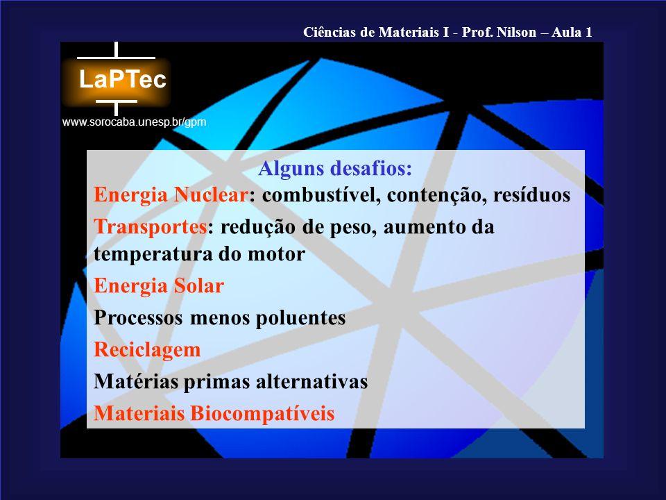Ciências de Materiais I - Prof. Nilson – Aula 1 www.sorocaba.unesp.br/gpm Alguns desafios: Energia Nuclear: combustível, contenção, resíduos Transport