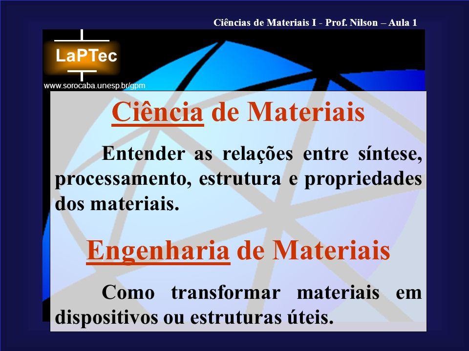 Ciências de Materiais I - Prof. Nilson – Aula 1 www.sorocaba.unesp.br/gpm Ciência de Materiais Entender as relações entre síntese, processamento, estr