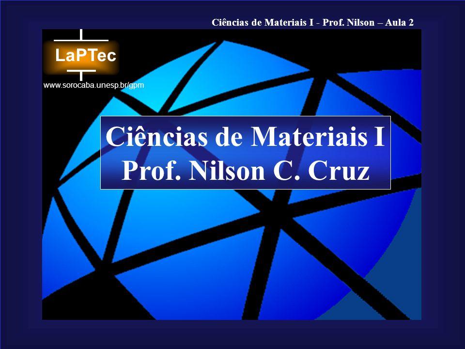 Ciências de Materiais I - Prof. Nilson – Aula 2 www.sorocaba.unesp.br/gpm Ciências de Materiais I Prof. Nilson C. Cruz