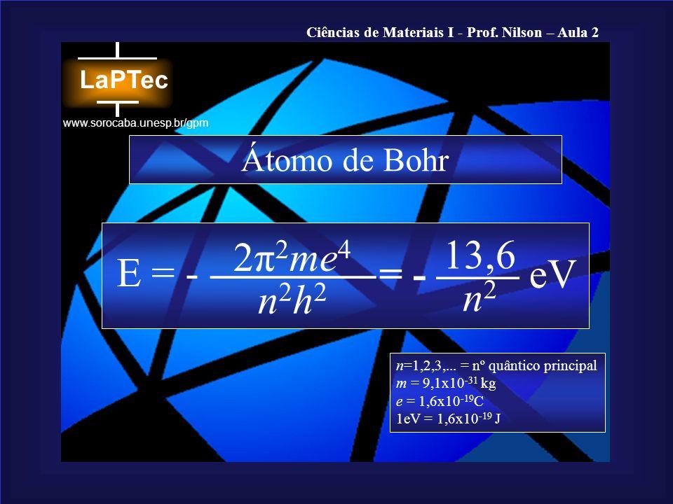 Ciências de Materiais I - Prof. Nilson – Aula 2 www.sorocaba.unesp.br/gpm Átomo de Bohr E = - 2π 2 me 4 n2h2n2h2 13,6 = - eV n2n2 n=1,2,3,... = nº quâ