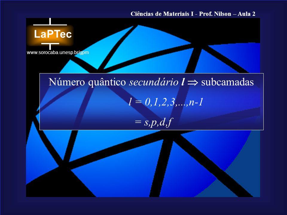 Ciências de Materiais I - Prof. Nilson – Aula 2 www.sorocaba.unesp.br/gpm Número quântico secundário l subcamadas l = 0,1,2,3,...,n-1 = s,p,d,f