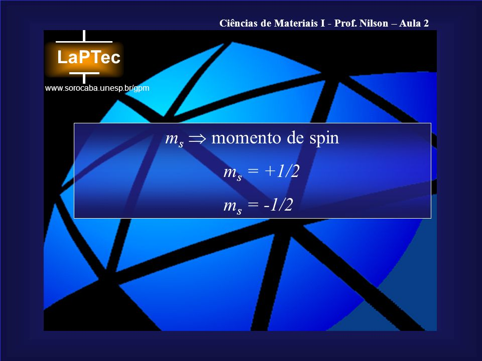 Ciências de Materiais I - Prof. Nilson – Aula 2 www.sorocaba.unesp.br/gpm m s momento de spin m s = +1/2 m s = -1/2