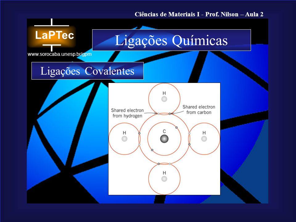 Ciências de Materiais I - Prof. Nilson – Aula 2 www.sorocaba.unesp.br/gpm Ligações Químicas Ligações Covalentes
