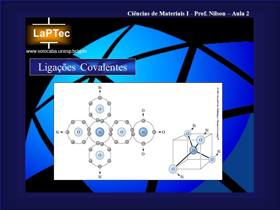 Ciências de Materiais I - Prof. Nilson – Aula 2 www.sorocaba.unesp.br/gpm © 2003 Brooks/Cole Publishing / Thomson Learning Ligações Covalentes