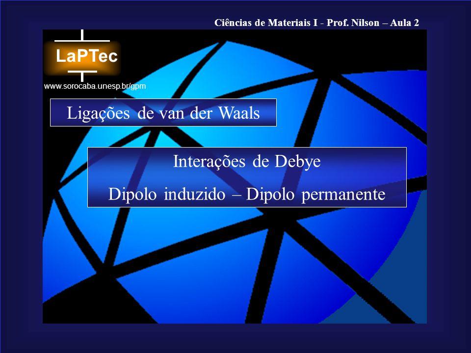 Ciências de Materiais I - Prof. Nilson – Aula 2 www.sorocaba.unesp.br/gpm Ligações de van der Waals Interações de Debye Dipolo induzido – Dipolo perma