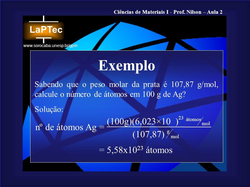 Ciências de Materiais I - Prof. Nilson – Aula 2 www.sorocaba.unesp.br/gpm Exemplo Sabendo que o peso molar da prata é 107,87 g/mol, calcule o número d