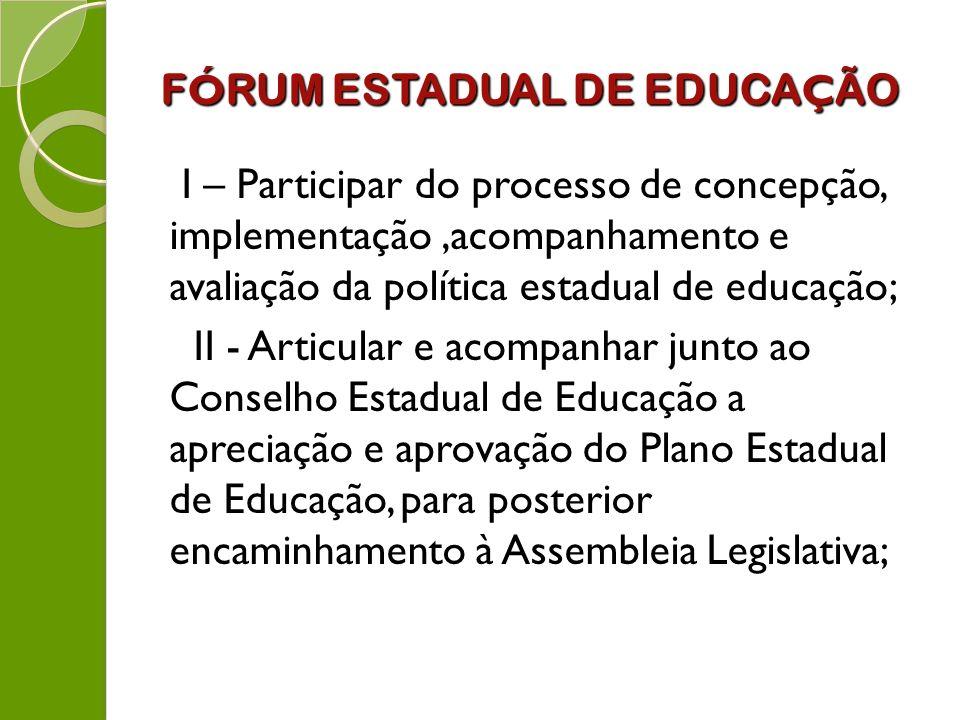 F Ó RUM ESTADUAL DE EDUCA Ç ÃO I – Participar do processo de concepção, implementação,acompanhamento e avaliação da política estadual de educação; II