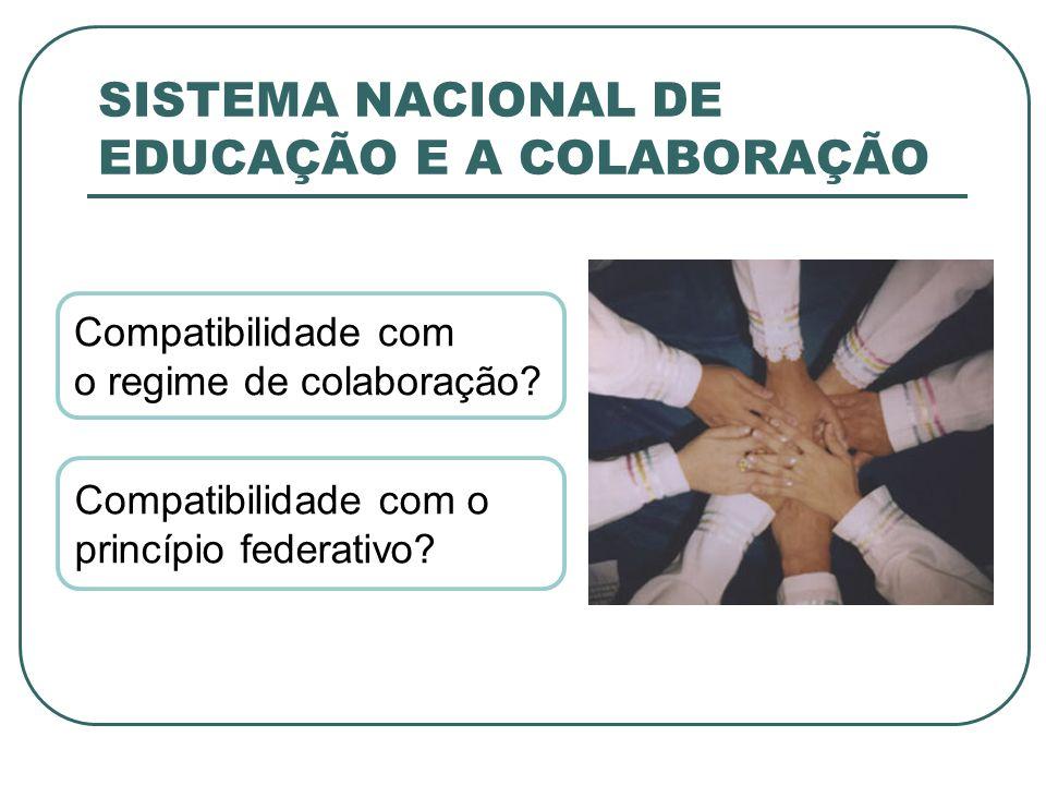 SISTEMA NACIONAL DE EDUCAÇÃO E A COLABORAÇÃO Compatibilidade com o regime de colaboração? Compatibilidade com o princípio federativo?