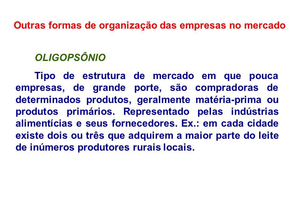 Outras formas de organização das empresas no mercado OLIGOPSÔNIO Tipo de estrutura de mercado em que pouca empresas, de grande porte, são compradoras
